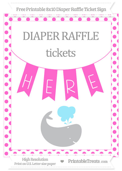 Free Rose Pink Dotted Whale 8x10 Diaper Raffle Ticket Sign