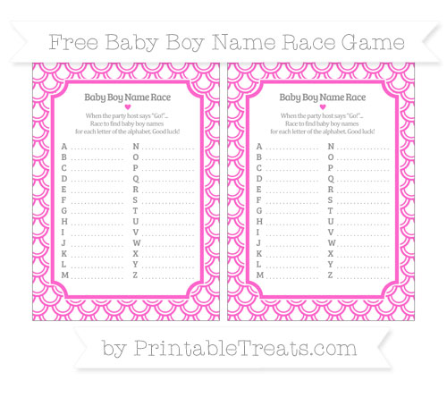 Free Rose Pink Fish Scale Pattern Baby Boy Name Race Game