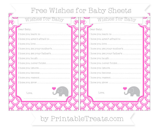 Free Rose Pink Fish Scale Pattern Baby Elephant Wishes for Baby Sheets