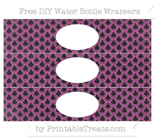 Free Rose Pink Fish Scale Pattern Chalk Style DIY Water Bottle Wrappers