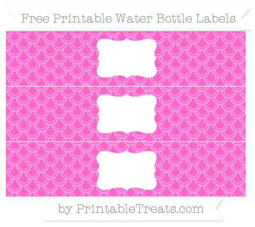 Free Rose Pink Fish Scale Pattern Water Bottle Labels