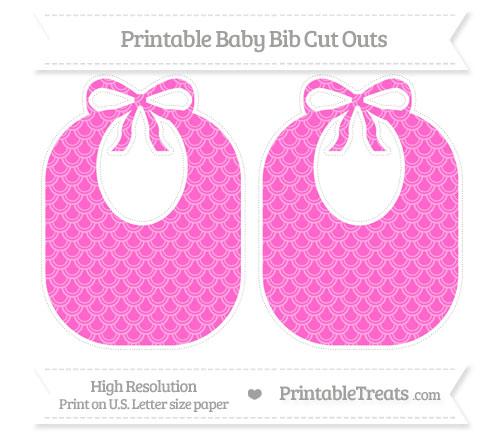 Free Rose Pink Fish Scale Pattern Large Baby Bib Cut Outs