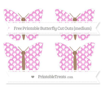 Free Rose Pink Fish Scale Pattern Medium Butterfly Cut Outs
