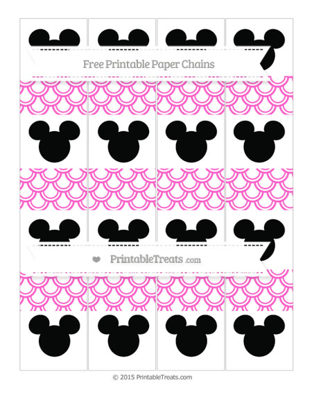 Free Rose Pink Fish Scale Pattern Mickey Mouse Paper Chains