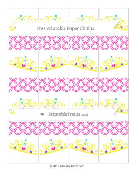 Free Rose Pink Fish Scale Pattern Princess Tiara Paper Chains
