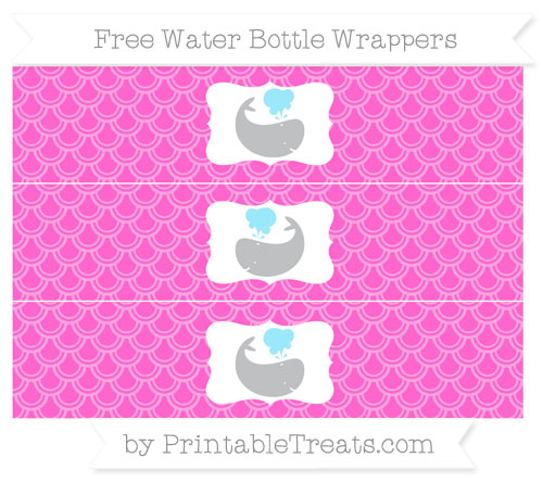 Free Rose Pink Fish Scale Pattern Whale Water Bottle Wrappers