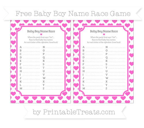 Free Rose Pink Heart Pattern Baby Boy Name Race Game