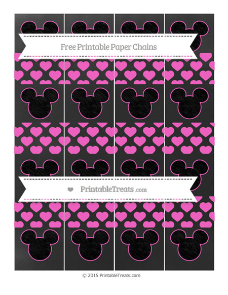 Free Rose Pink Heart Pattern Chalk Style Mickey Mouse Paper Chains