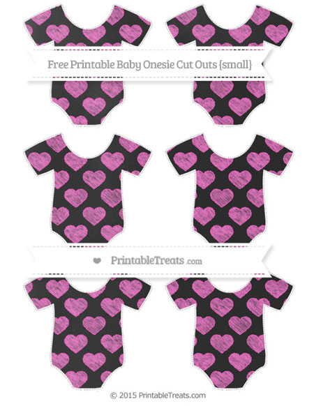 Free Rose Pink Heart Pattern Chalk Style Small Baby Onesie Cut Outs