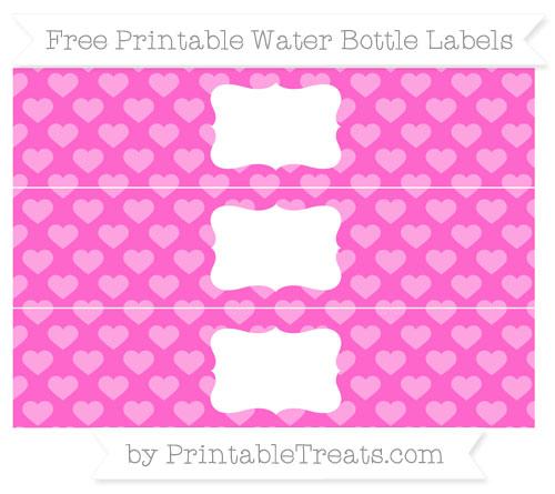 Free Rose Pink Heart Pattern Water Bottle Labels