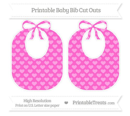 Free Rose Pink Heart Pattern Large Baby Bib Cut Outs