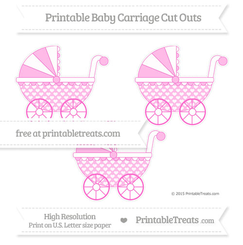 Free Rose Pink Heart Pattern Medium Baby Carriage Cut Outs