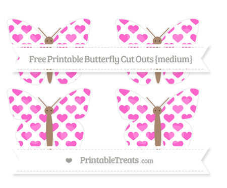 Free Rose Pink Heart Pattern Medium Butterfly Cut Outs