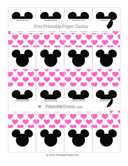 Free Rose Pink Heart Pattern Mickey Mouse Paper Chains