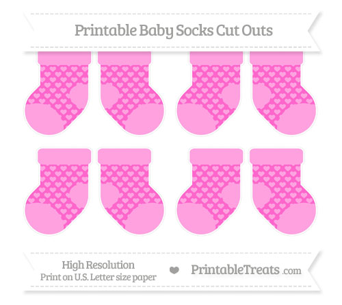 Free Rose Pink Heart Pattern Small Baby Socks Cut Outs