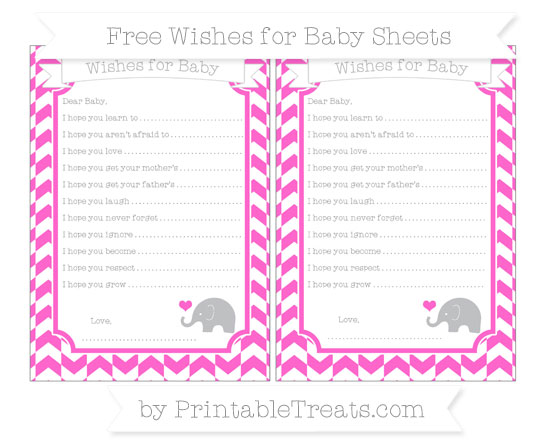 Free Rose Pink Herringbone Pattern Baby Elephant Wishes for Baby Sheets