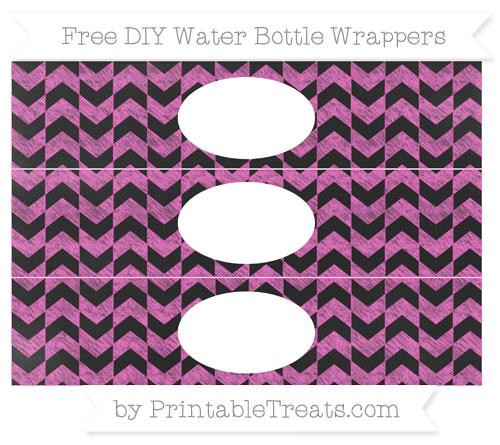 Free Rose Pink Herringbone Pattern Chalk Style DIY Water Bottle Wrappers