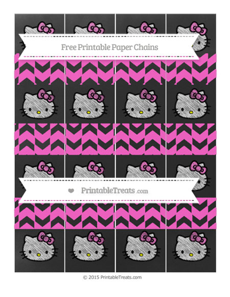Free Rose Pink Herringbone Pattern Chalk Style Hello Kitty Paper Chains