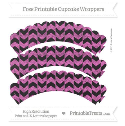 Free Rose Pink Herringbone Pattern Chalk Style Scalloped Cupcake Wrappers