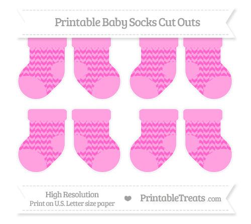 Free Rose Pink Herringbone Pattern Small Baby Socks Cut Outs