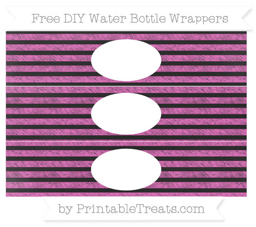 Free Rose Pink Horizontal Striped Chalk Style DIY Water Bottle Wrappers
