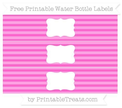 Free Rose Pink Horizontal Striped Water Bottle Labels