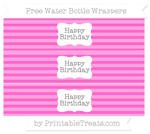 Free Rose Pink Horizontal Striped Happy Birhtday Water Bottle Wrappers