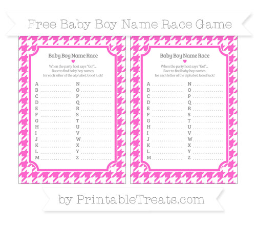 Free Rose Pink Houndstooth Pattern Baby Boy Name Race Game