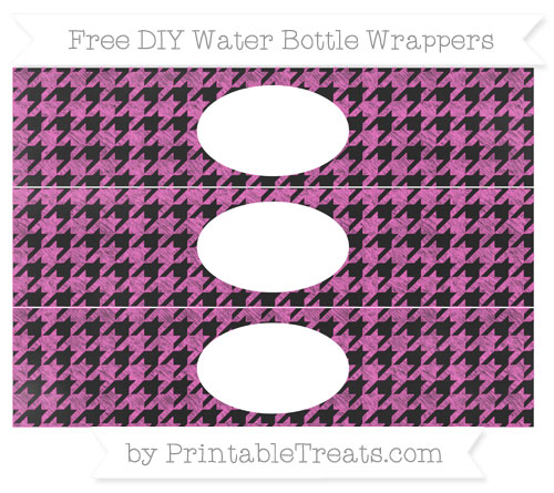 Free Rose Pink Houndstooth Pattern Chalk Style DIY Water Bottle Wrappers