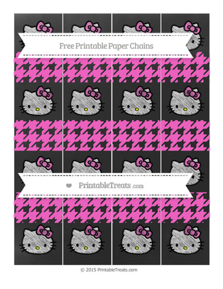 Free Rose Pink Houndstooth Pattern Chalk Style Hello Kitty Paper Chains