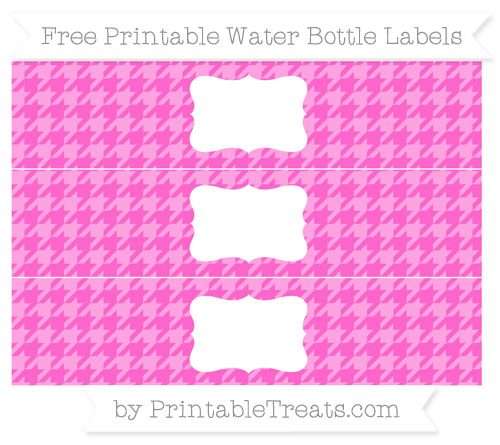 Free Rose Pink Houndstooth Pattern Water Bottle Labels