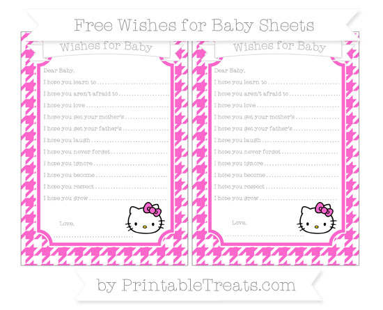 Free Rose Pink Houndstooth Pattern Hello Kitty Wishes for Baby Sheets