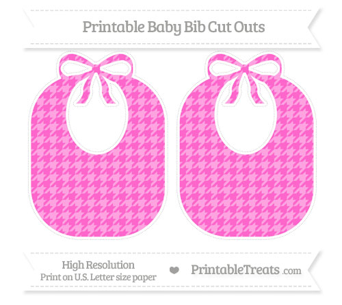 Free Rose Pink Houndstooth Pattern Large Baby Bib Cut Outs