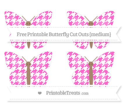 Free Rose Pink Houndstooth Pattern Medium Butterfly Cut Outs