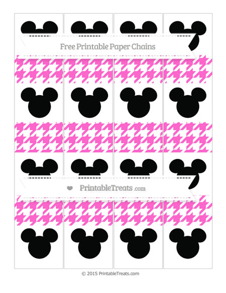 Free Rose Pink Houndstooth Pattern Mickey Mouse Paper Chains