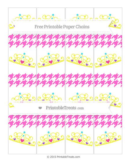 Free Rose Pink Houndstooth Pattern Princess Tiara Paper Chains
