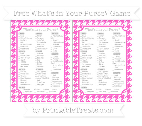Free Rose Pink Houndstooth Pattern What's in Your Purse Baby Shower Game