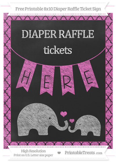 Free Rose Pink Moroccan Tile Chalk Style Elephant 8x10 Diaper Raffle Ticket Sign