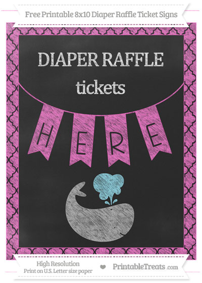 Free Rose Pink Moroccan Tile Chalk Style Whale 8x10 Diaper Raffle Ticket Sign