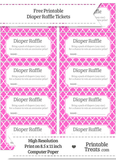 Free Rose Pink Moroccan Tile Diaper Raffle Tickets