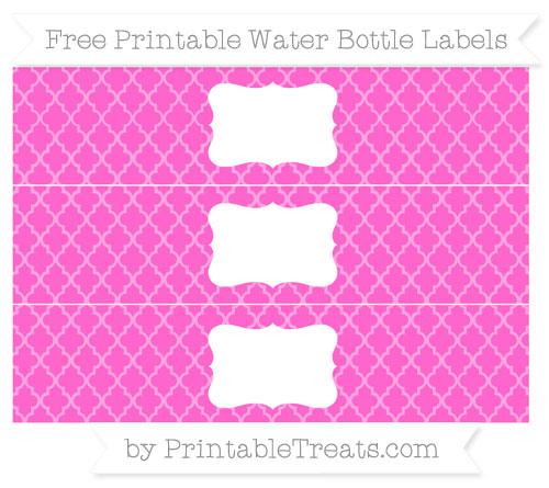 Free Rose Pink Moroccan Tile Water Bottle Labels