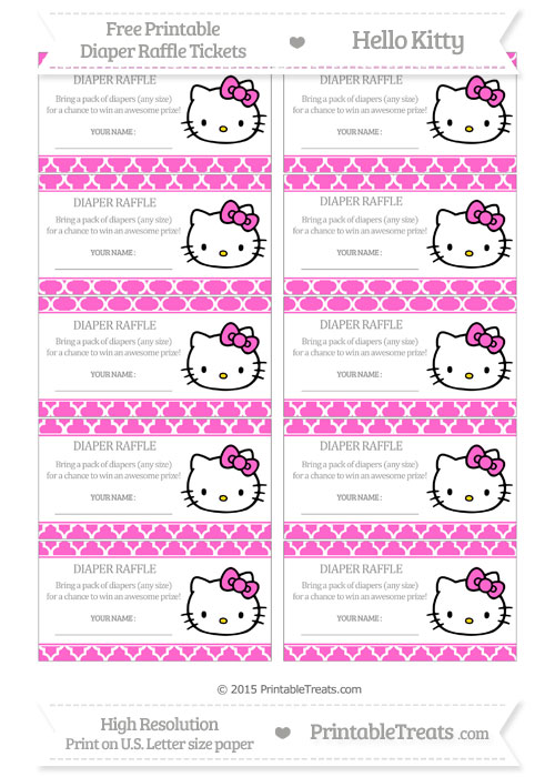 Free Rose Pink Moroccan Tile Hello Kitty Diaper Raffle Tickets