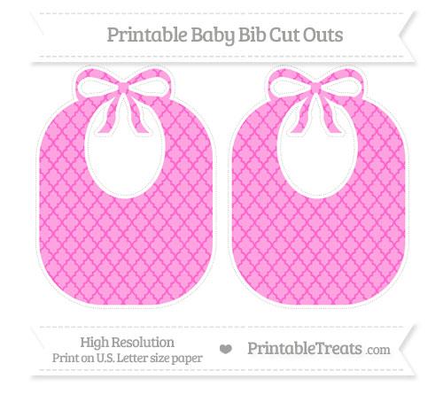 Free Rose Pink Moroccan Tile Large Baby Bib Cut Outs