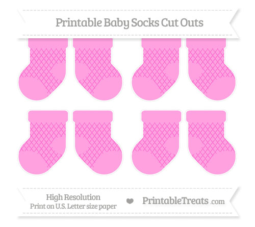 Free Rose Pink Moroccan Tile Small Baby Socks Cut Outs