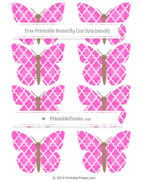 Free Rose Pink Moroccan Tile Small Butterfly Cut Outs