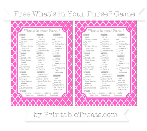 Free Rose Pink Moroccan Tile What's in Your Purse Baby Shower Game