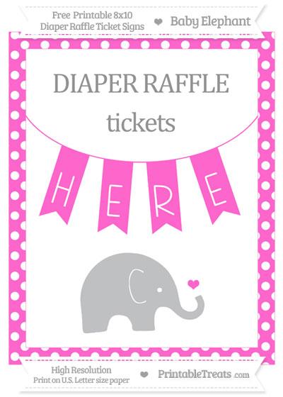 Free Rose Pink Polka Dot Baby Elephant 8x10 Diaper Raffle Ticket Sign