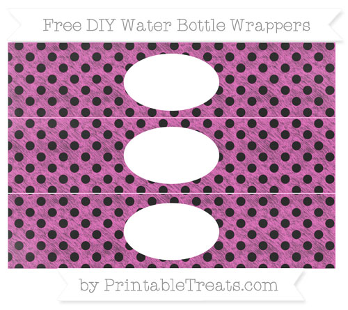 Free Rose Pink Polka Dot Chalk Style DIY Water Bottle Wrappers