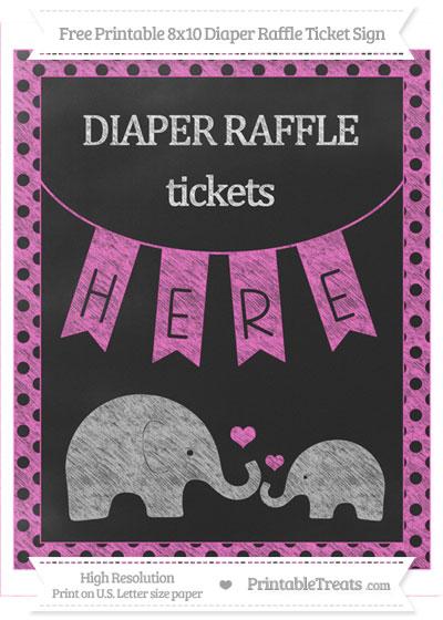 Free Rose Pink Polka Dot Chalk Style Elephant 8x10 Diaper Raffle Ticket Sign