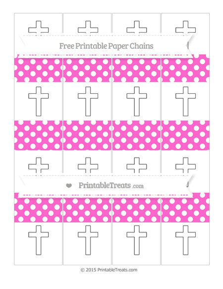 Free Rose Pink Polka Dot Cross Paper Chains